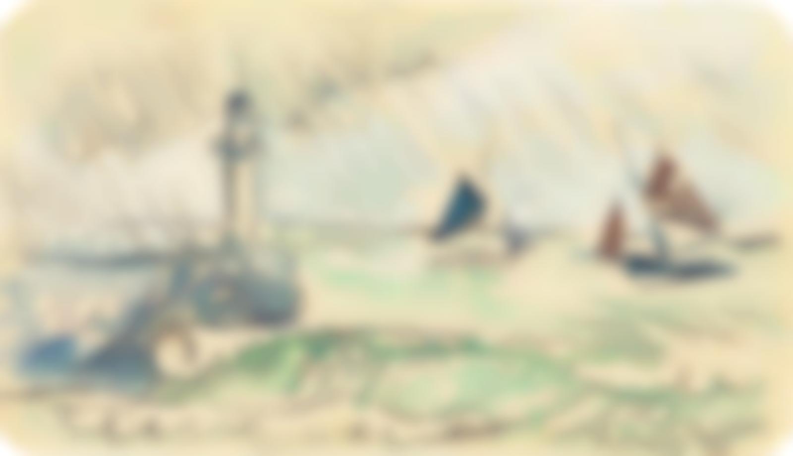 Paul Signac-Audierne, la jetee par gros temps-1927