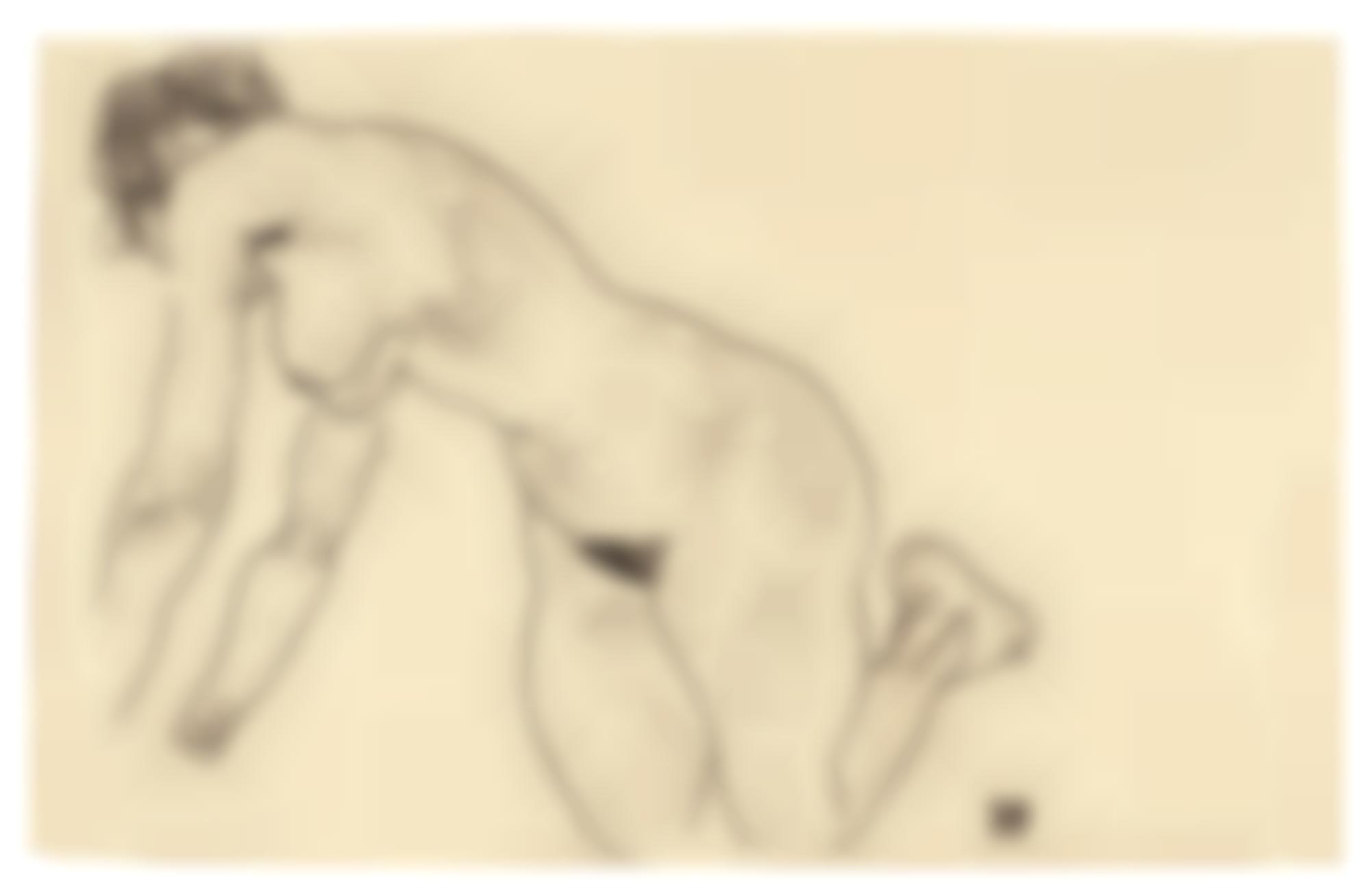 Egon Schiele-Crouching Female Nude-1918