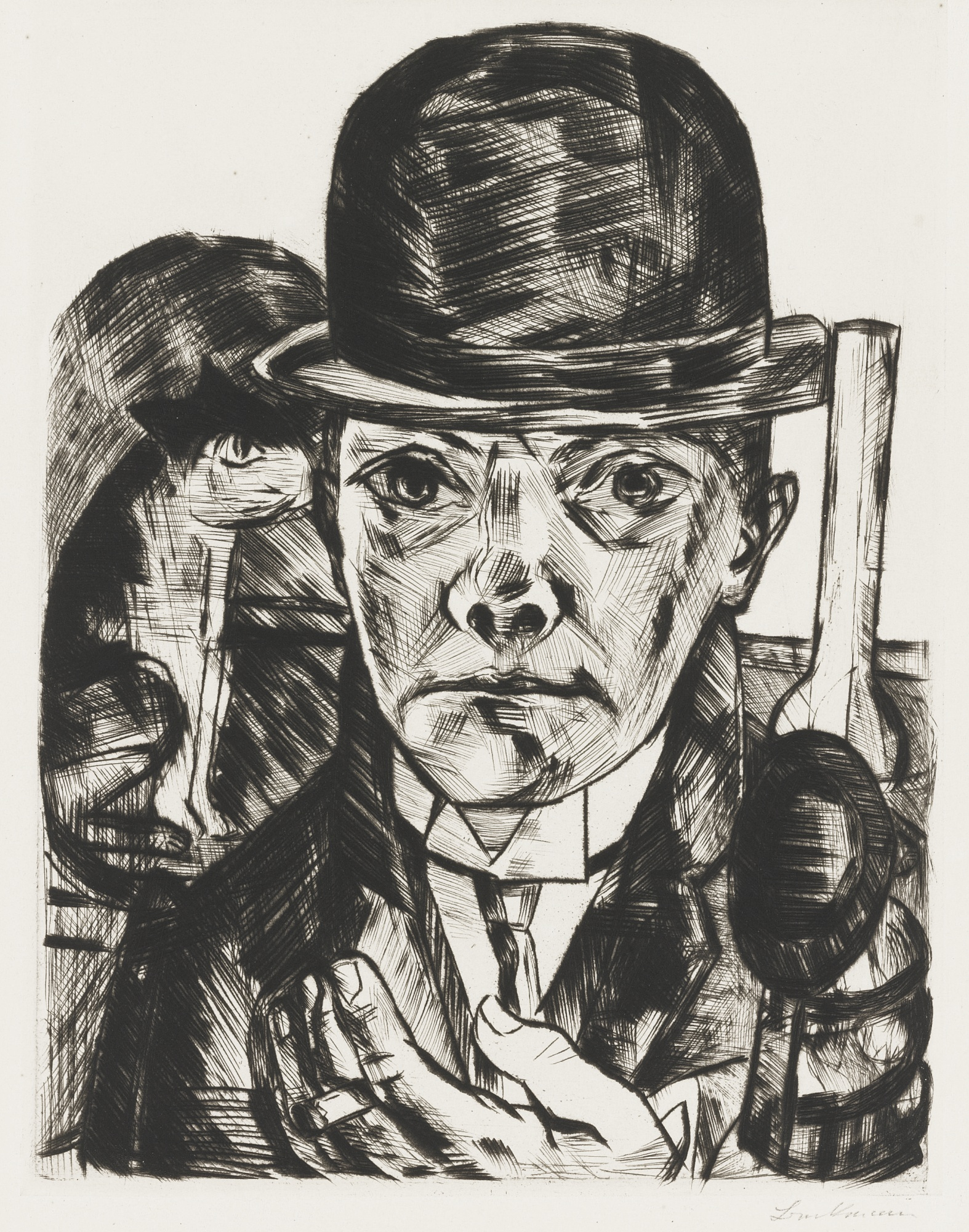 Max Beckmann-Self Portrait In Bowler Hat-1921