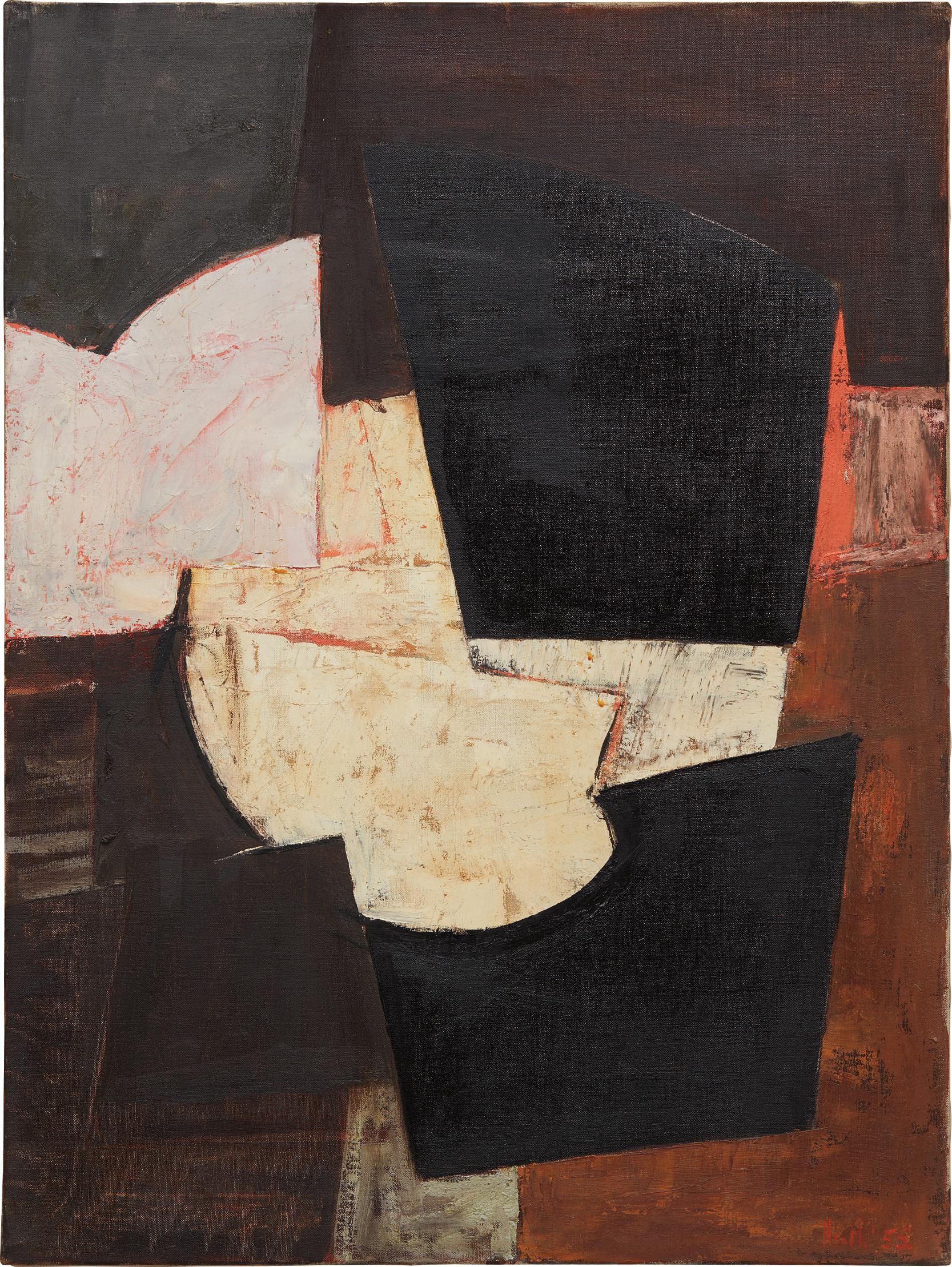 Adrian Heath-Composition, brown, black & pink-1955