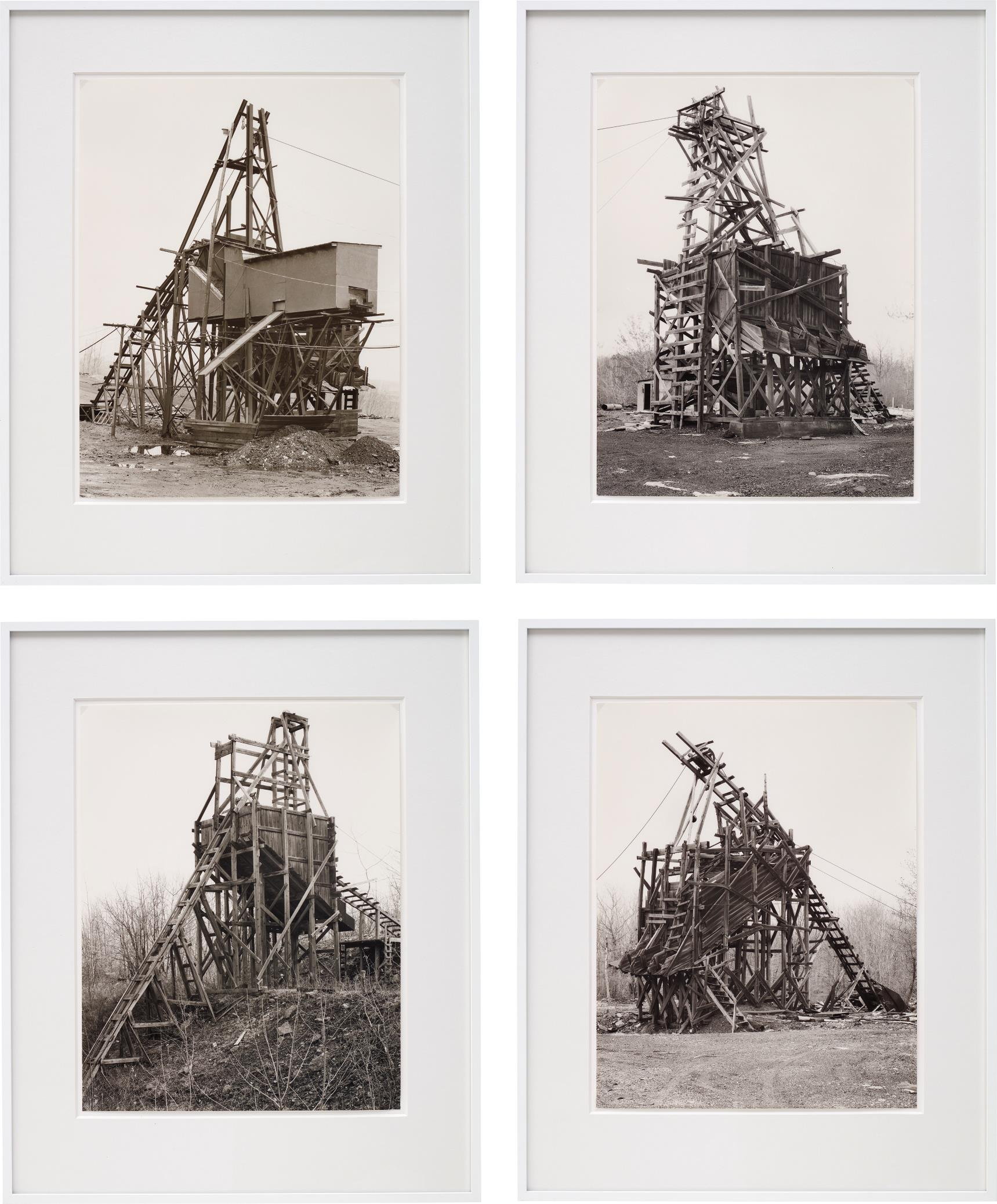 Bernd and Hilla Becher-Four works: (i) Zimmermann Coal Co., Ravine, Schuylkill Country; (ii) Scade Coal Co., Goodspring Mountains, Schuylkill Country; (iii) Scheib & Walacavage, No. 2, Joliett, Schuykill Country; (iv) Minnich Coal Co., Goodspring Mountains, Schuykill Country-1983