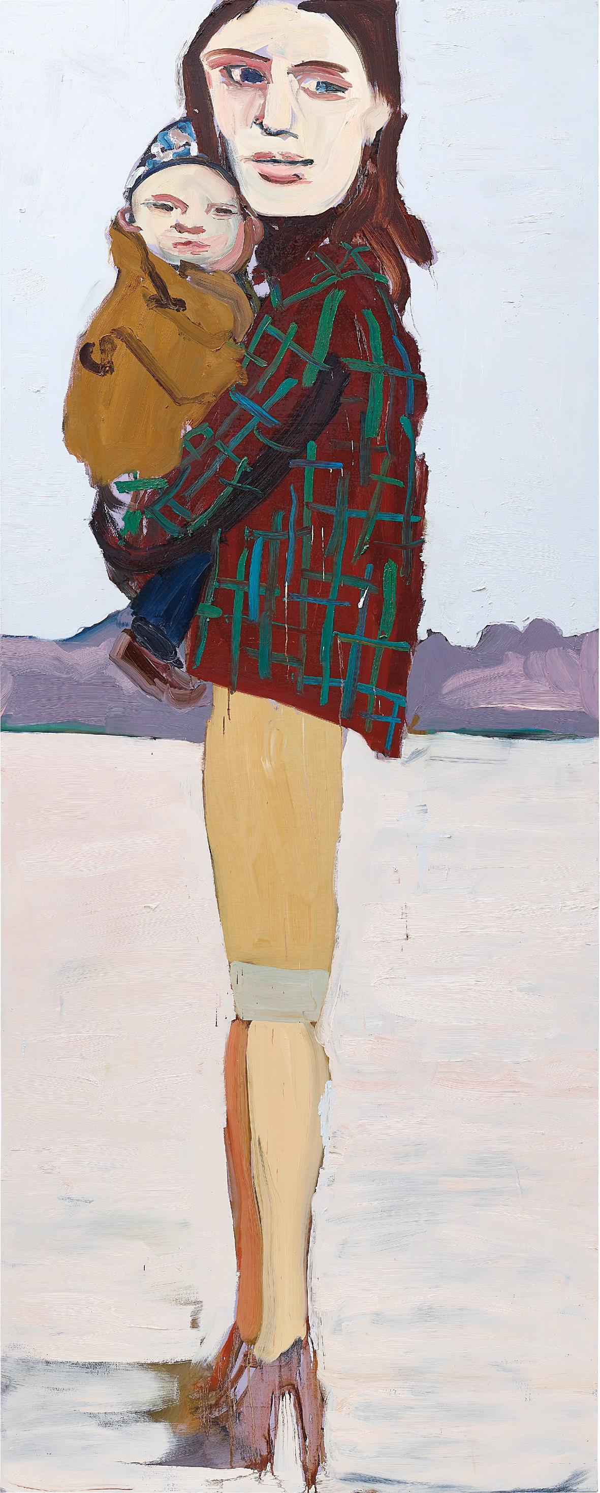Chantal Joffe-Check Jacket and Baby-2004