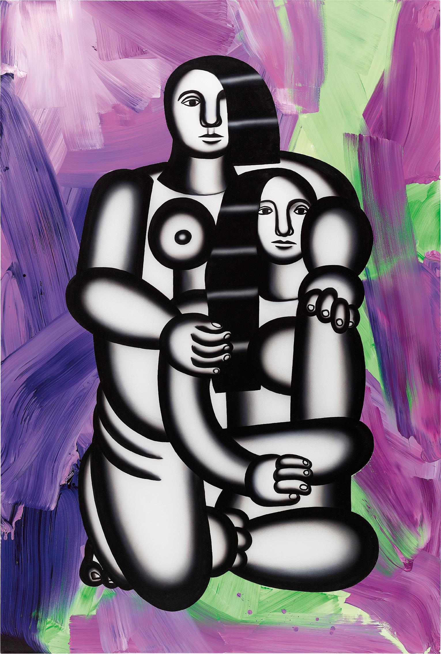 Anselm Reyle-Les deux figures (nues sur fond abstrait turbulent)-2006