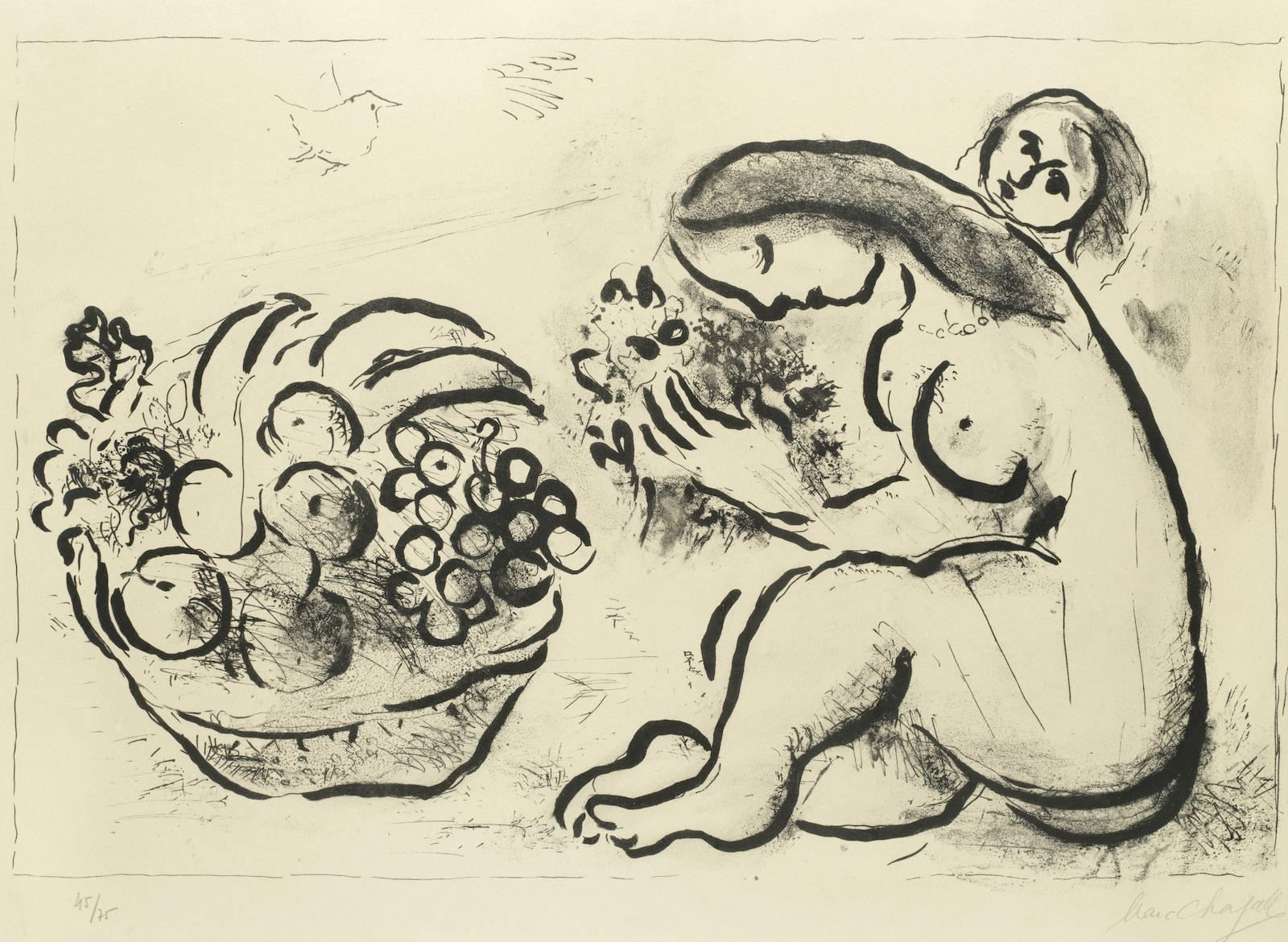 Marc Chagall-Nu a la Corbeille de Fruits-1954