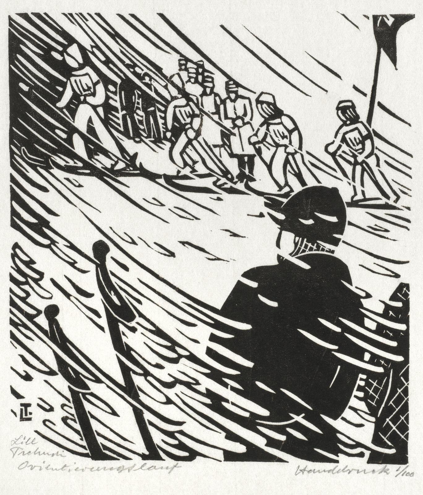 Lill Tschudi-FHD Patr. Orientierungslauf; Sondieren am Lawinenhang-1943