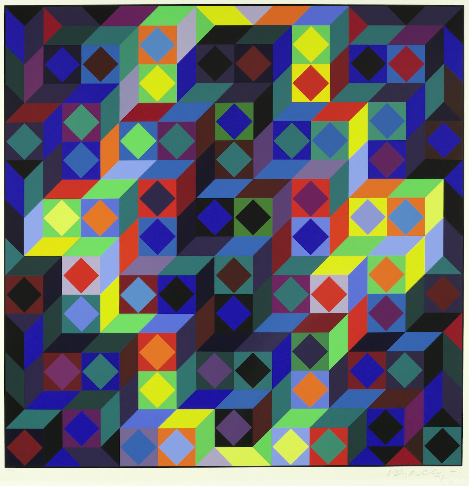 Victor Vasarely-Hommage a l'Hexagone VI; Zeta-1969
