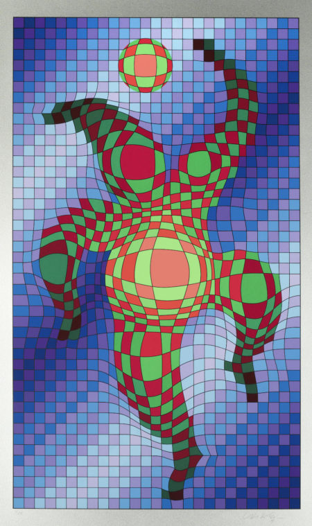 Victor Vasarely-Clown with Ball; Harlequin, from 'Figurative'-1986