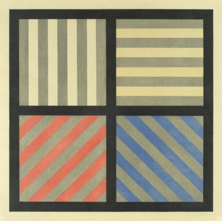 Sol LeWitt-Lines in Four Directions, with Alternating Colour and Gray Bands-1993