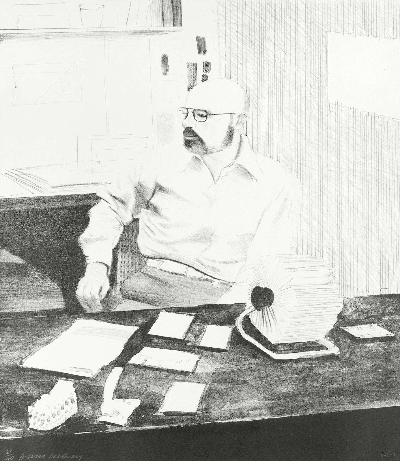 David Hockney-Sidney in his office-1976