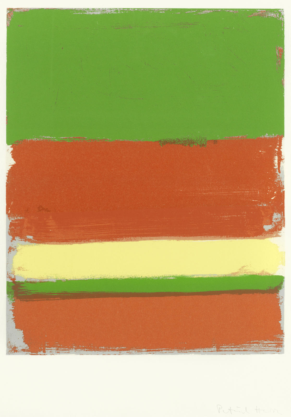 Patrick Heron-2 : Small Horizon with Orange, Lime, Lemon and Cherry, from 'The Shapes Of Colour'-1978