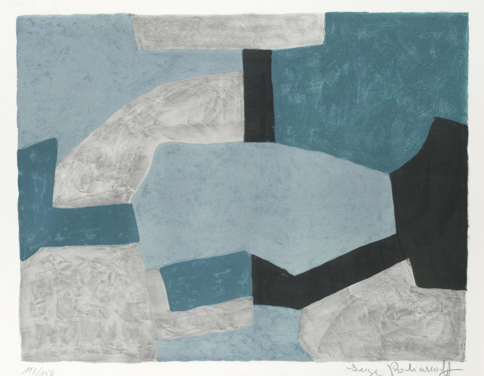 Serge Poliakoff-Composition grise, verte et bleue-1966