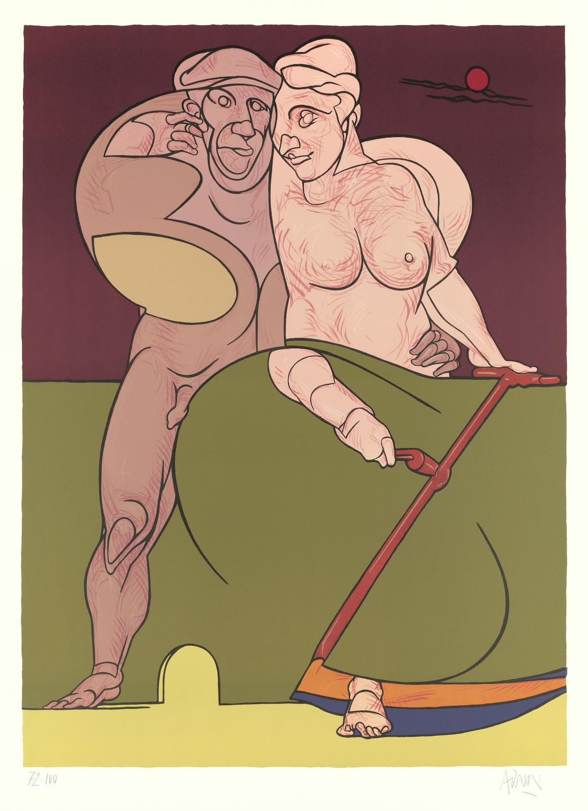 Valerio Adami-Picasso et la femme Neoclassique; Pandora's box-1983