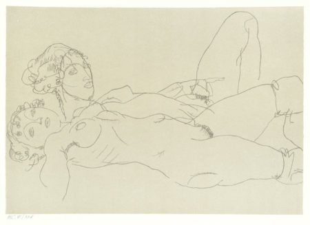 Egon Schiele-After Egon Schiele - The Last Self-Portrait; Two Female Reclining Figures; Reclining Nude with Raised Torso; Reclining Male and Female Figure-2007