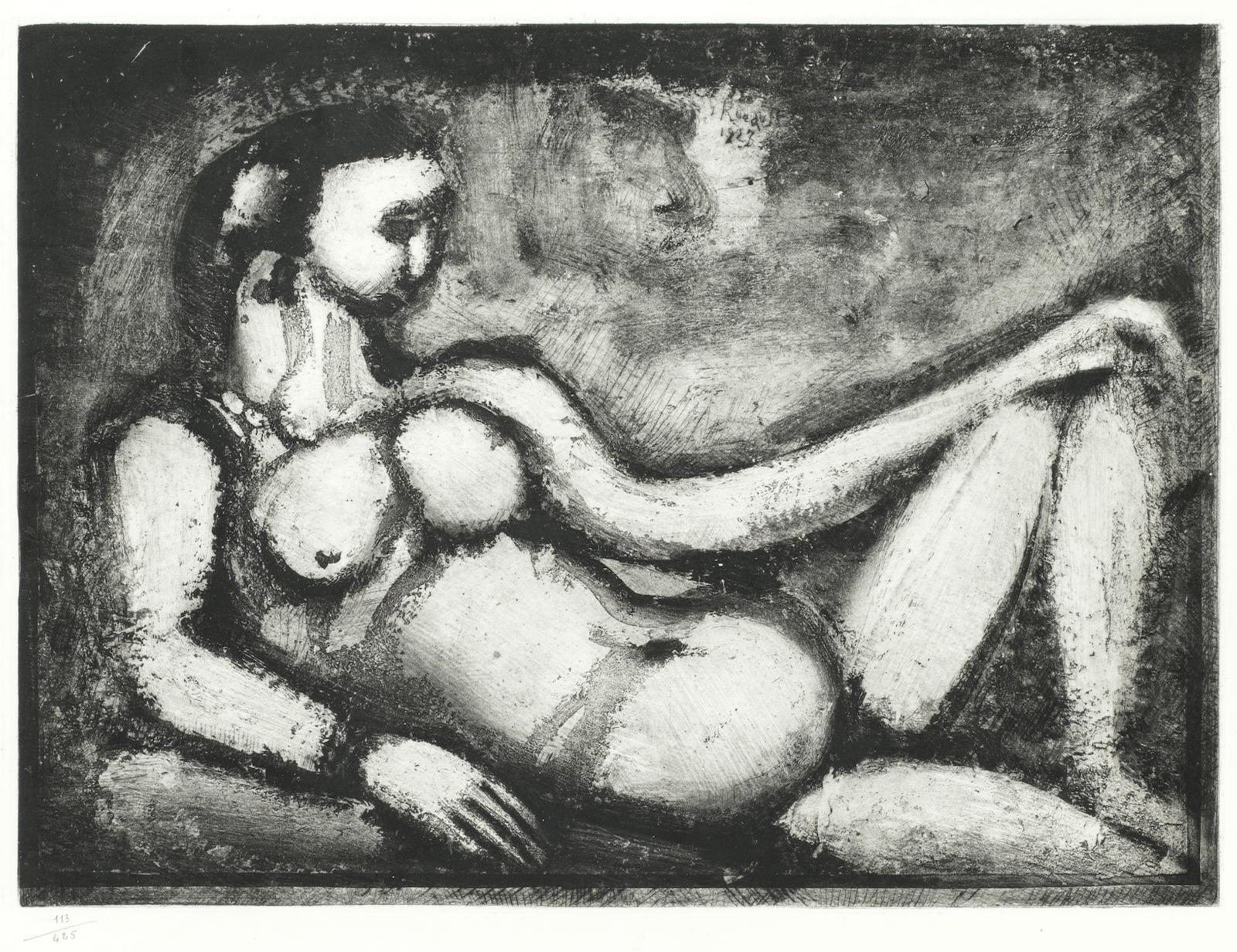 Georges Rouault-Courtisane nue, Plate VI from 'Quatorze Planches Gravees Pour Les Fleurs Du Mal'-1927