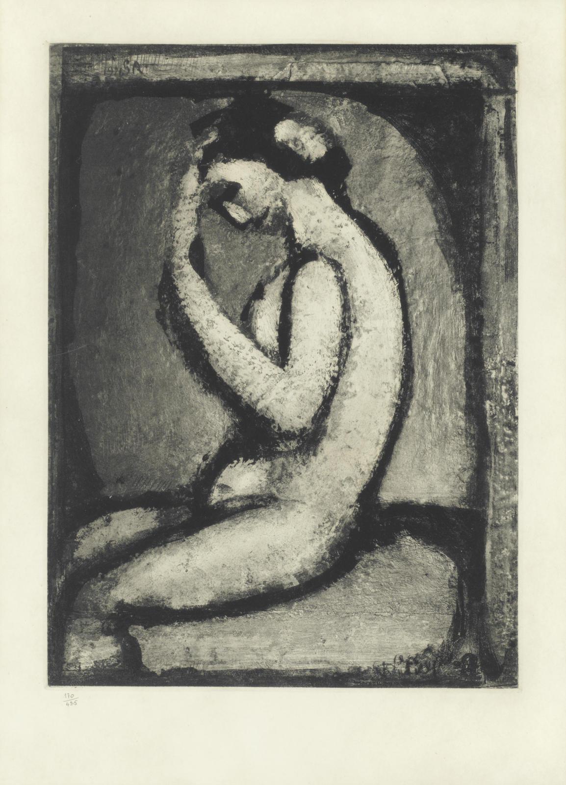 Georges Rouault-Nu de profil, Plate V, from 'Quatorze Planches Gravees pour Les Fleurs du Mal'-1927