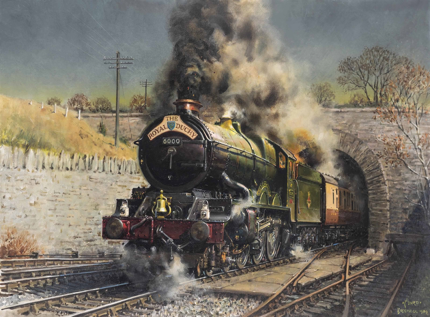Terence Cuneo-The Royal Duchy: King George V storms up the grade out of Dainton Tunnel-1989