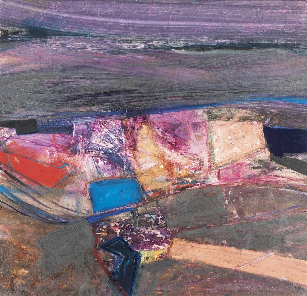 Barbara Rae-Abstract in mauve-