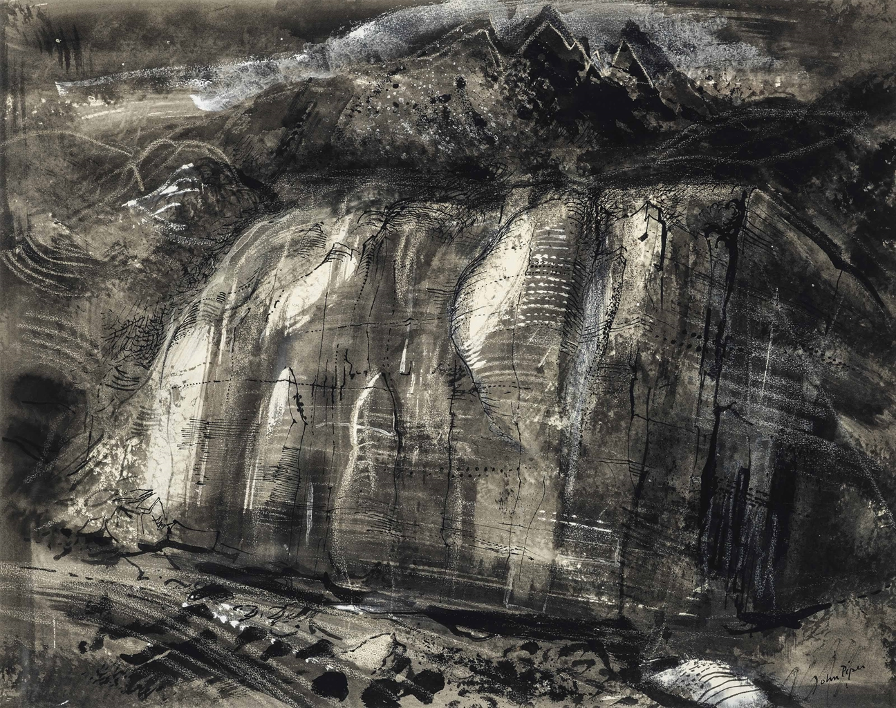 John Piper-Rockface under Tryfan, North Wales-1950