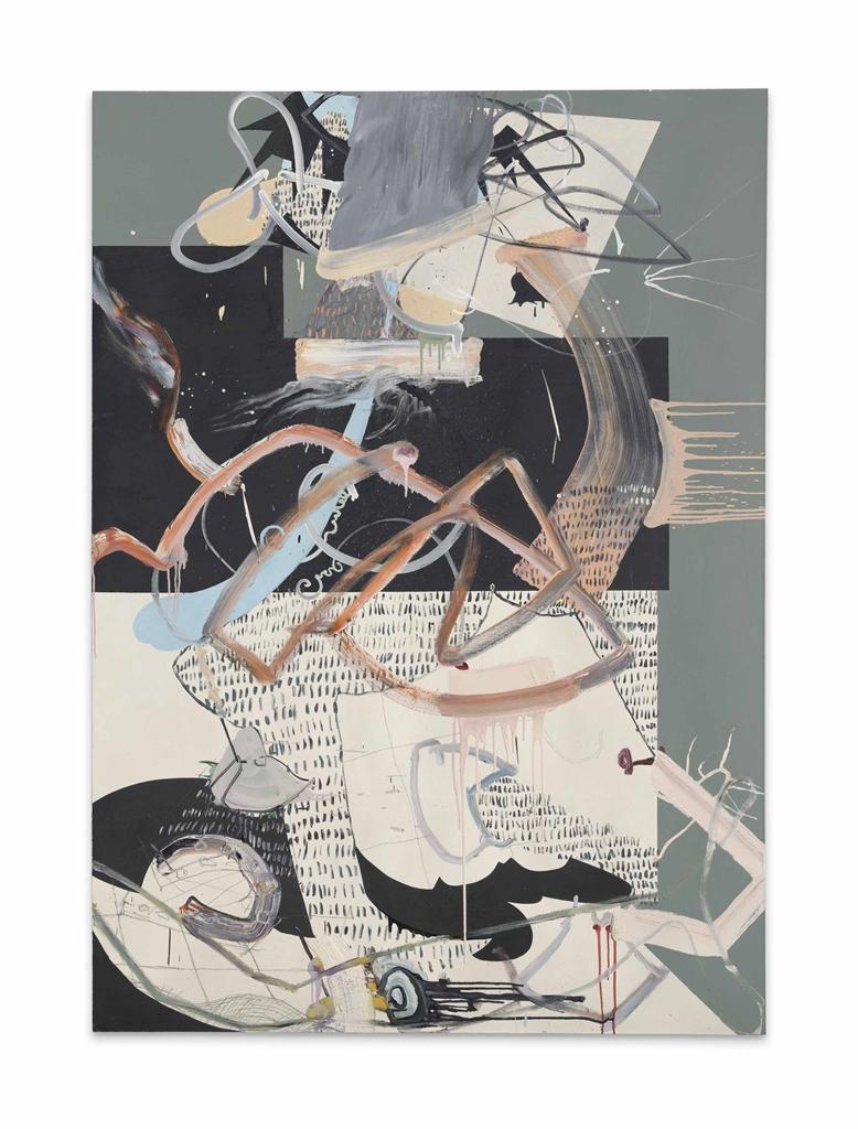 Fiona Rae-Untitled (orange, green and black)-1991