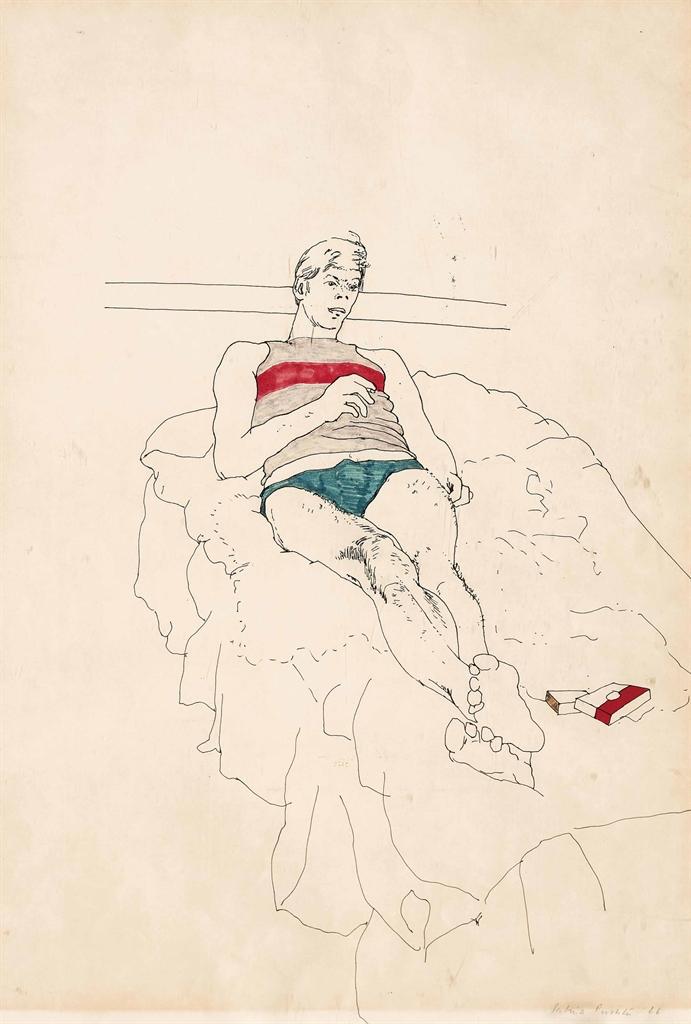 Patrick Procktor-Young man smoking on a bed-1966