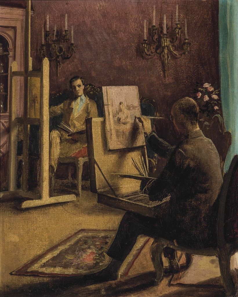 Rex Whistler-Conversation piece: Lord Berners and Cecil Beaton painting at Ashcombe-1932