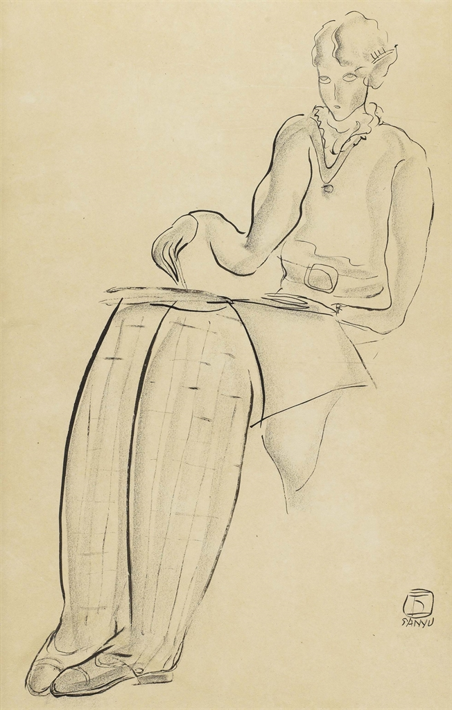Sanyu-Modele Dessinant A L'Academie (Woman Drawing At The Academie)-