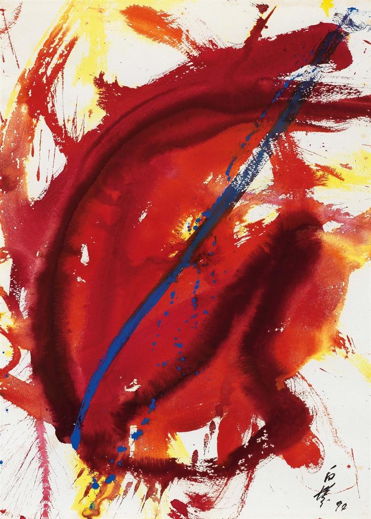 Kazuo Shiraga-Akanegumo (Madder Red Cloud)-1990