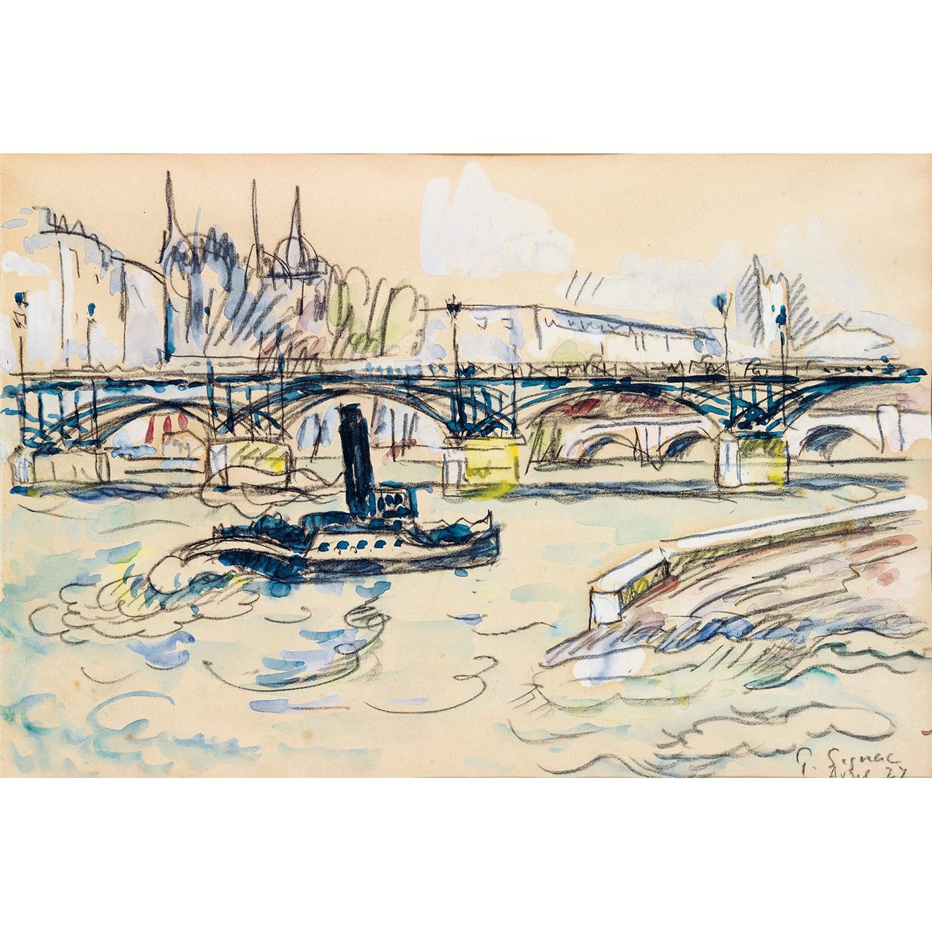 Paul Signac-Paris, La Seine Au Pont Des Arts, Avril-1927