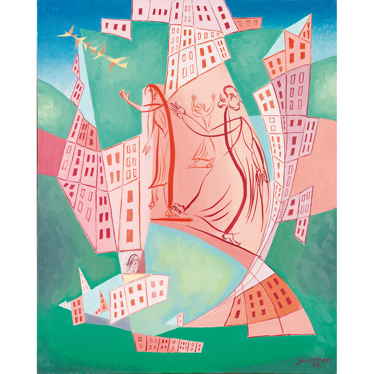 Leopold Survage-Personnages Dans La Ville-1957