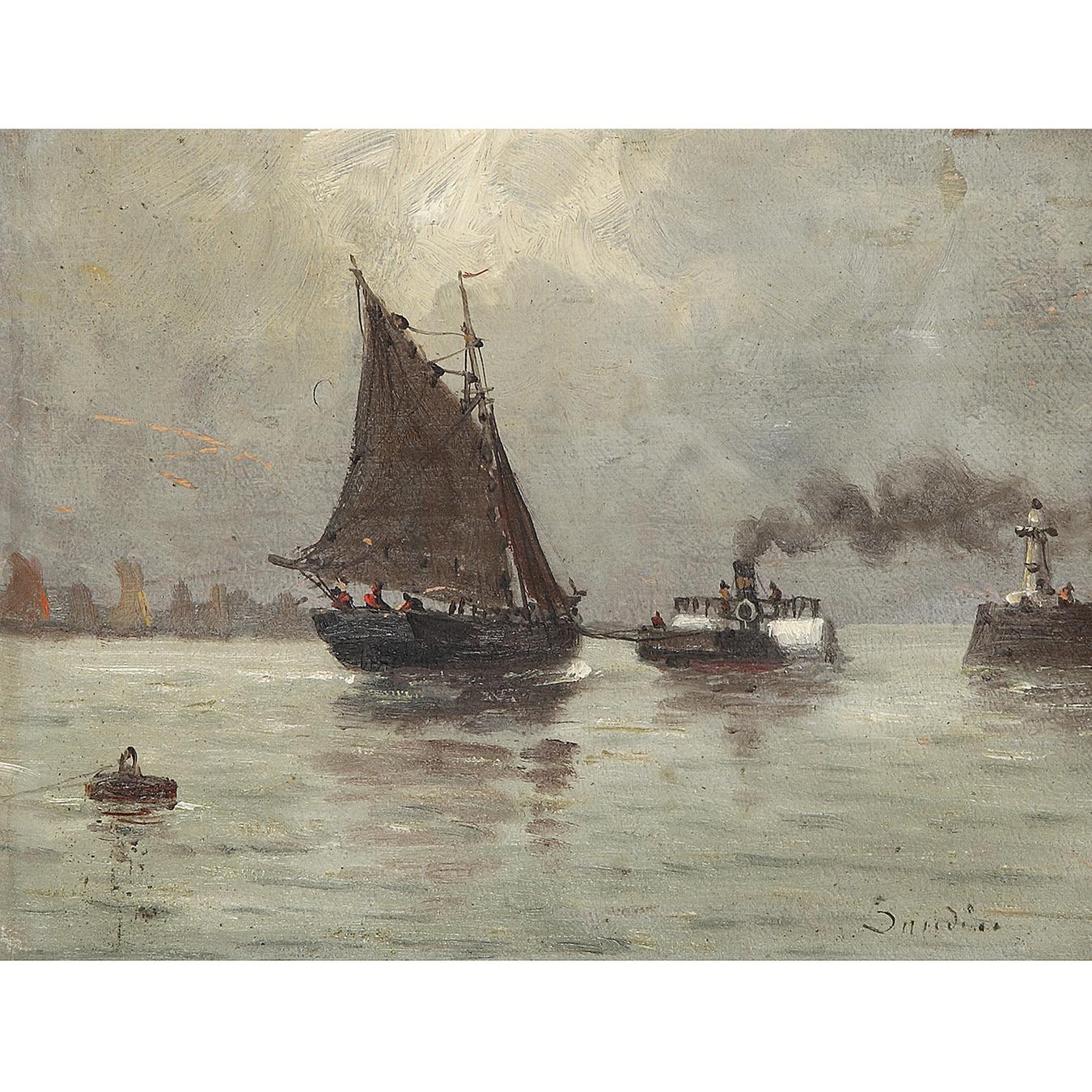 Eugene Louis Boudin-Bateau Et Remorqueur-