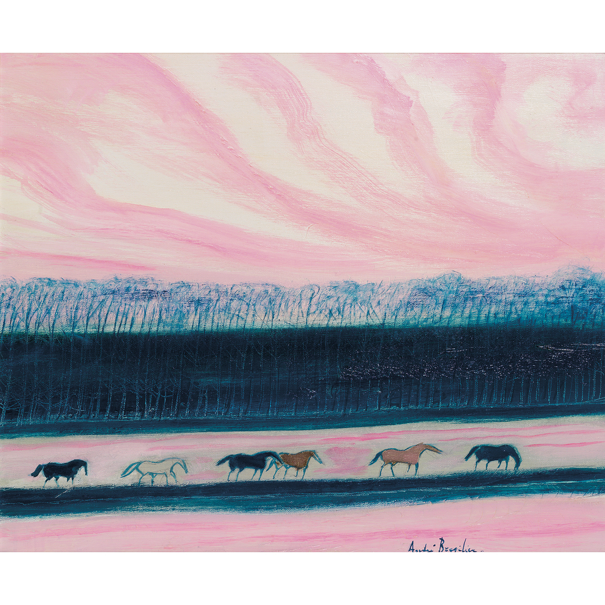 Andre Brasilier-Soir Au Ciel Rose-1983