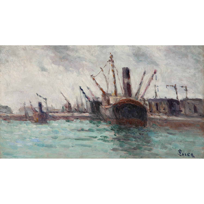 Maximilien Luce-Rouen, Cargos Dans Le Port, Vers-1935