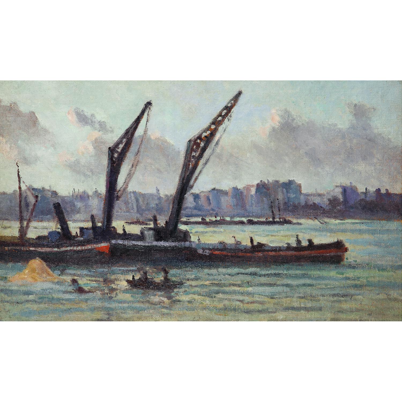 Maximilien Luce-La Seine, Peniches Pres D'Un Entrepot, Vers-1937