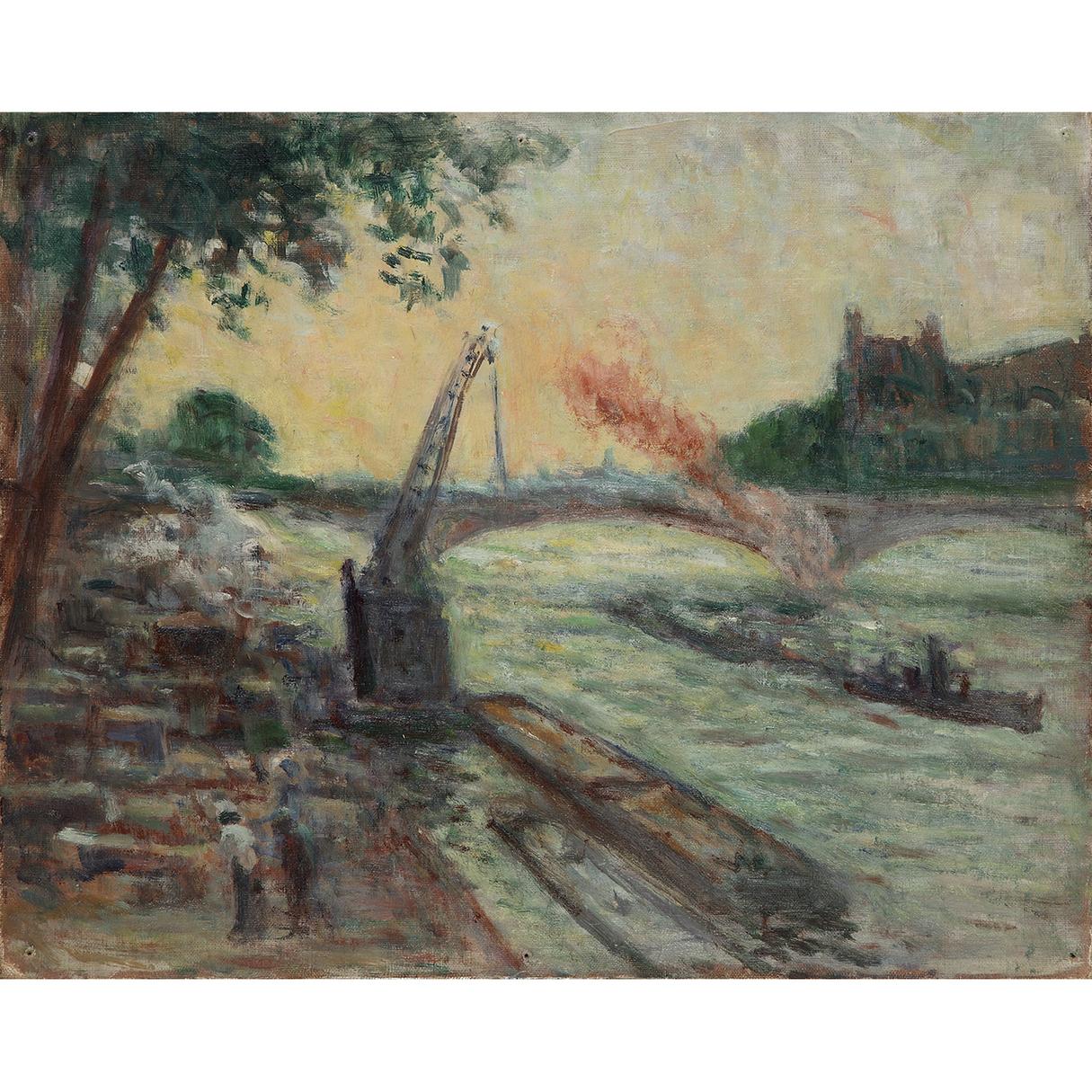 Maximilien Luce-Travaux Sur La Seine, Vers-1930