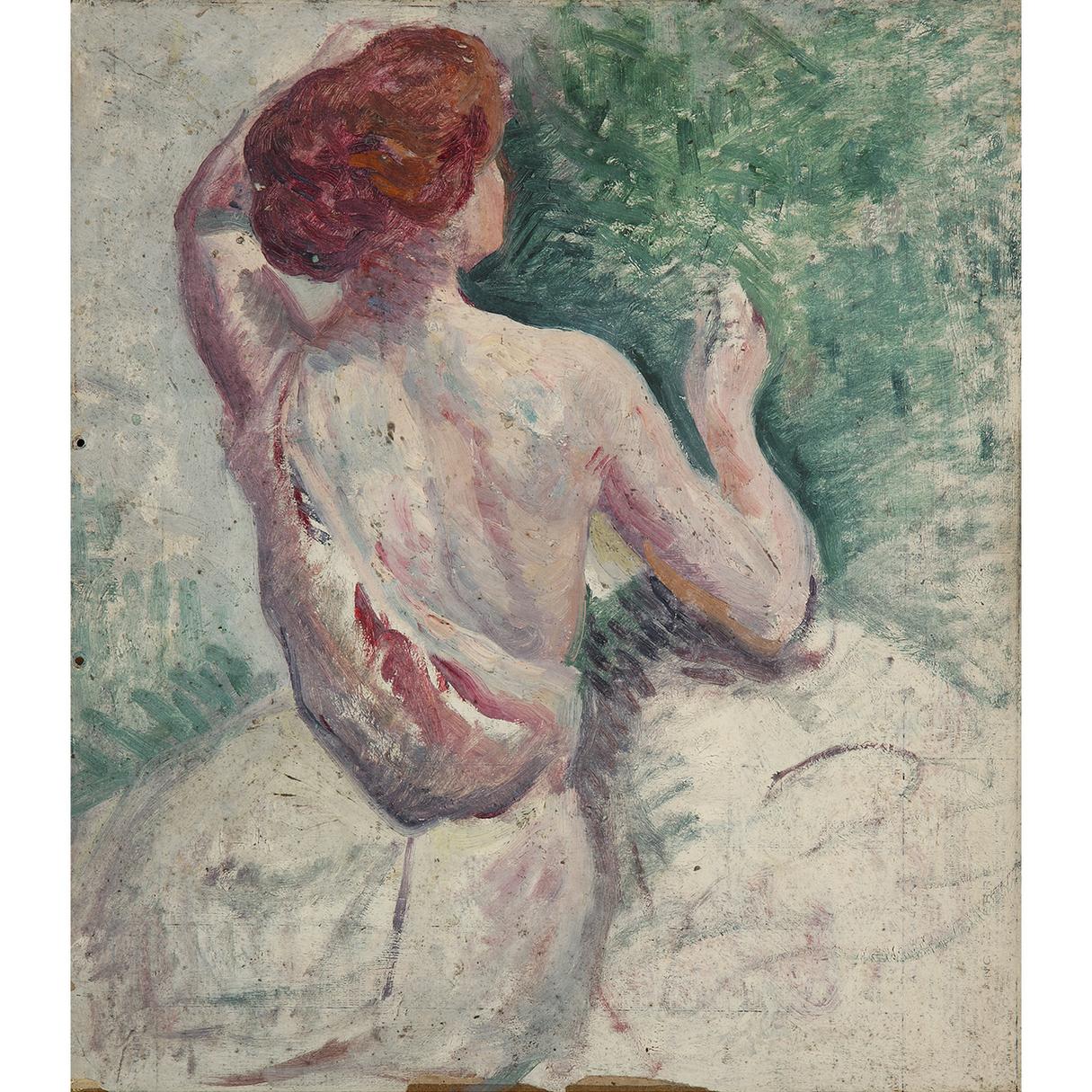 Maximilien Luce-Femme De Dos Se Coiffant, Vers-1900