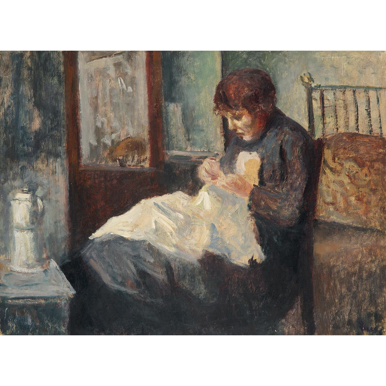 Maximilien Luce-Femme Cousant (Mme Ambroisine Luce)-1917