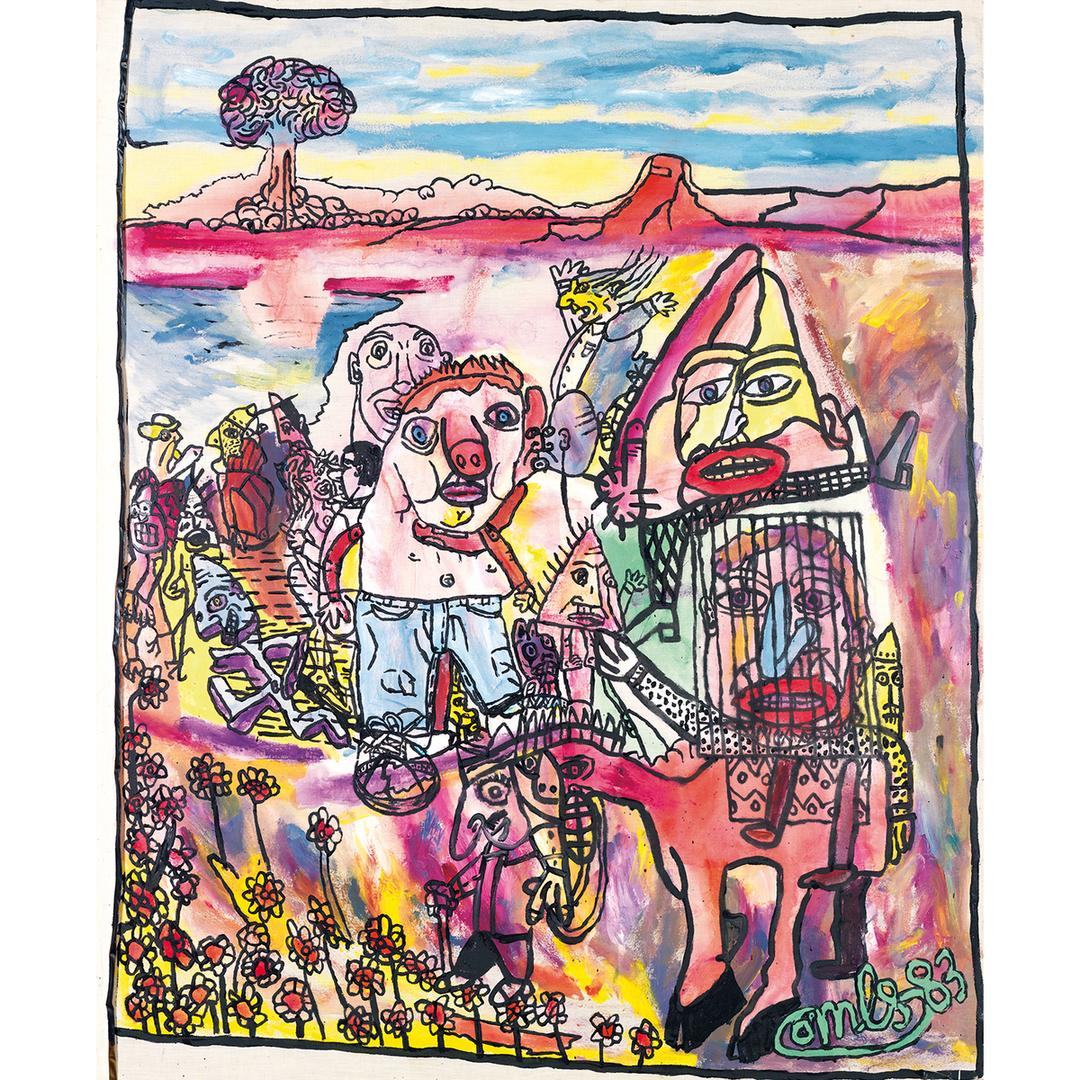 Robert Combas-La Kapagne Avec Bolo Le Gros Nazo, Pique De La Hirondelle Et Cageot Cavalier En Toile De Jute-1983