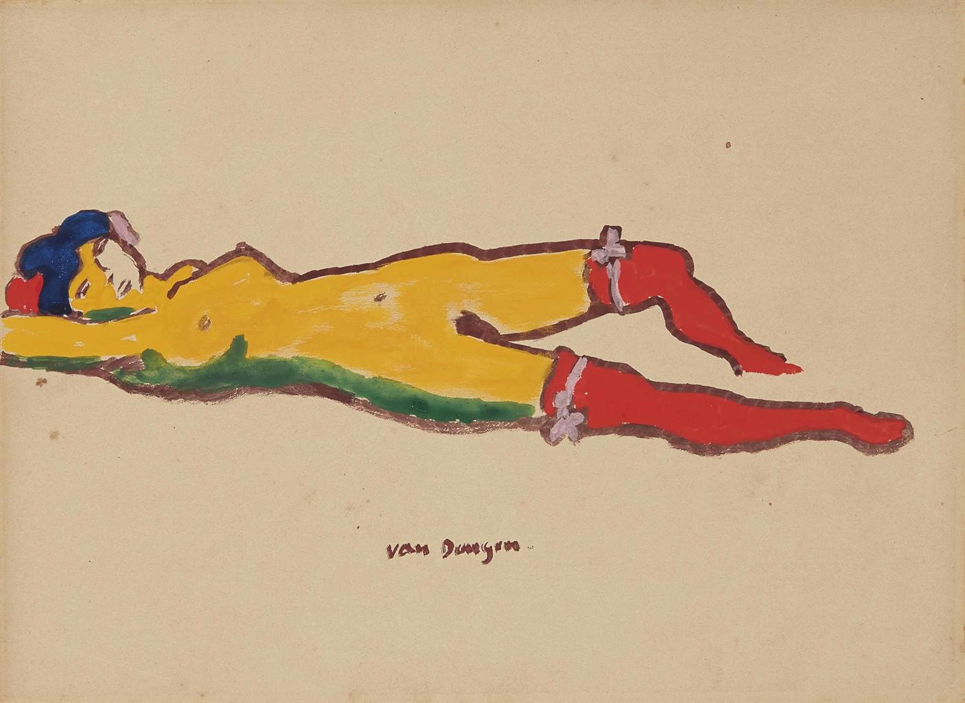 Kees van Dongen-Nu couche aux bas rouges-1910