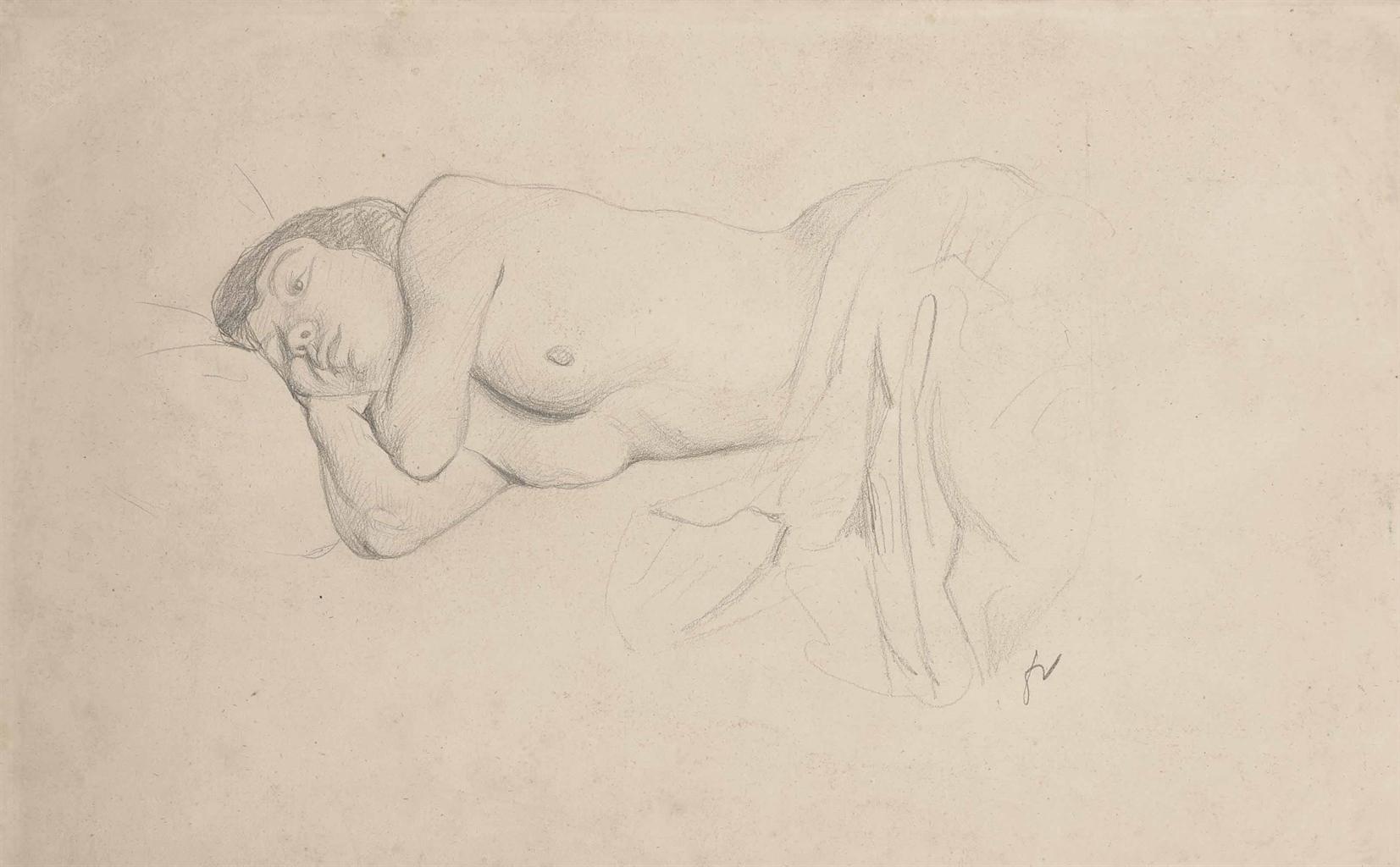 Felix Vallotton-Nu couche, etude pour 'Le Petit bleu'-1914