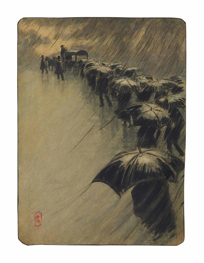 Henri Riviere-L'enterrement des parapluies-1891