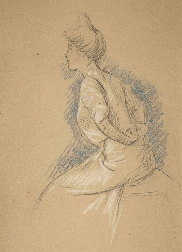 Federico Zandomeneghi-Femme agrafant son corsage-