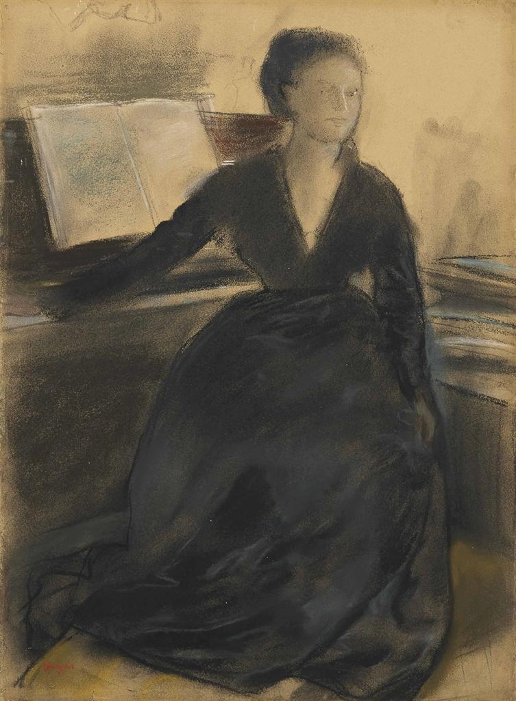 Edgar Degas-Madame Camus devant son piano-1869