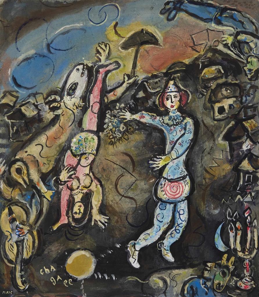 Marc Chagall-Cirque sur fond noir-1966