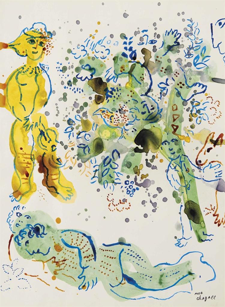 Marc Chagall-Autour de l'arbre-1973