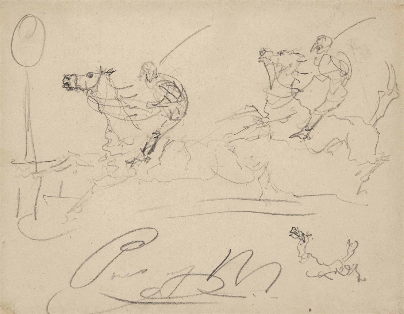 Henri de Toulouse-Lautrec-Cavaliers (recto); Cheval au galop (verso)-1880