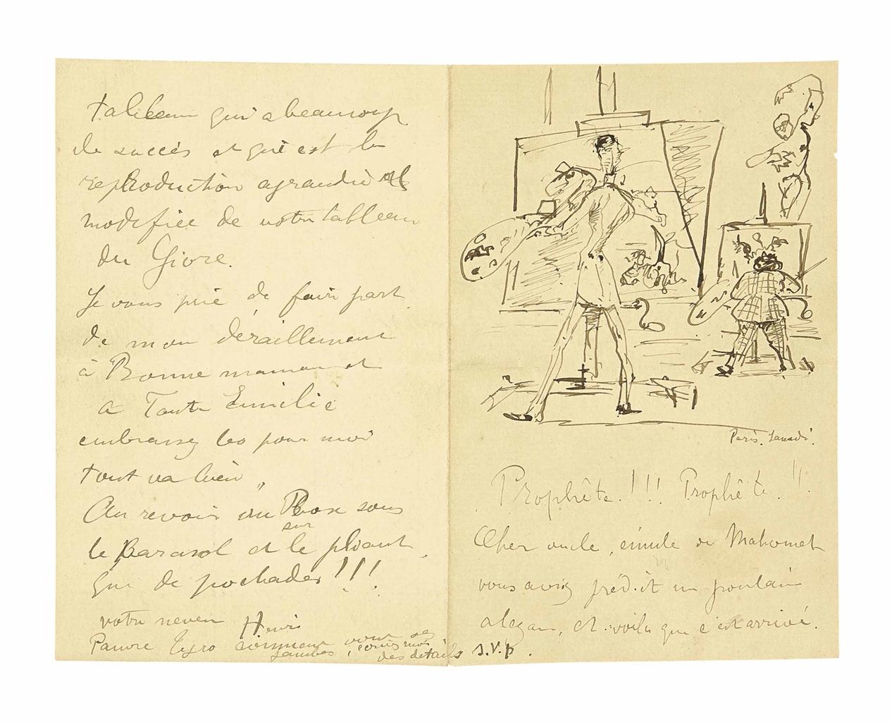 Henri de Toulouse-Lautrec-Princeteau et Lautrec (lettre manuscrite a l'oncle de l'artiste)-1881
