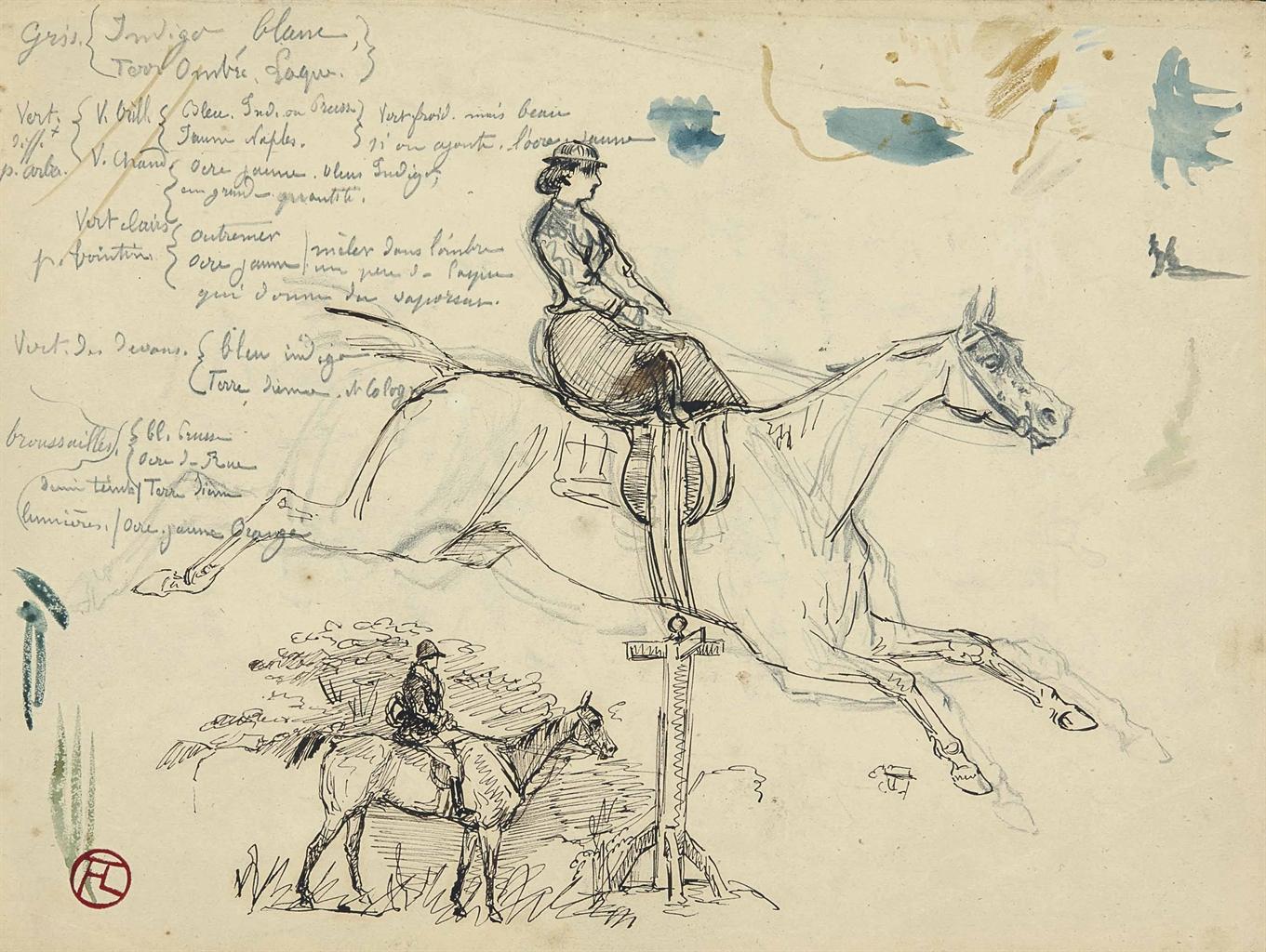 Henri de Toulouse-Lautrec-L'amazone (recto); Cheval (verso)-