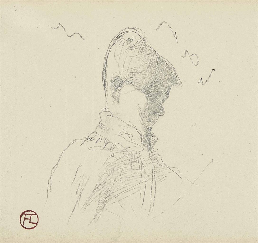 Henri de Toulouse-Lautrec-Tete et buste de femme (recto); Decors (verso)-1887