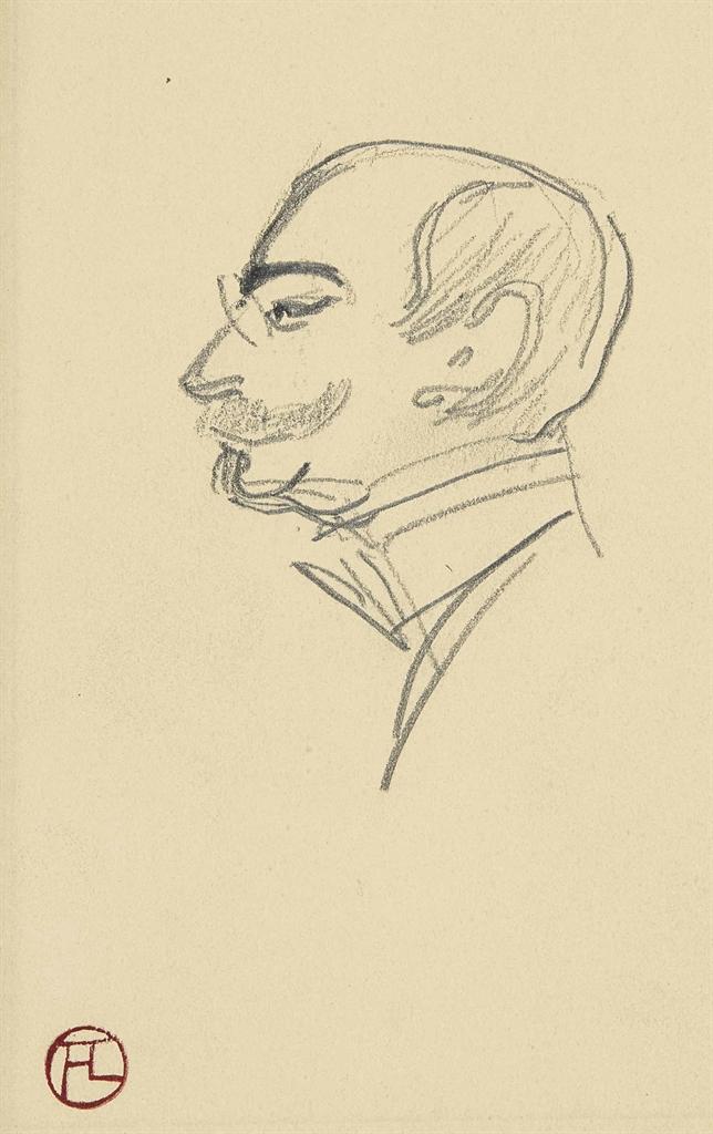 Henri de Toulouse-Lautrec-Maison de sante: Tete d'homme de profil (recto); Chapeau sur son support (verso)-1899
