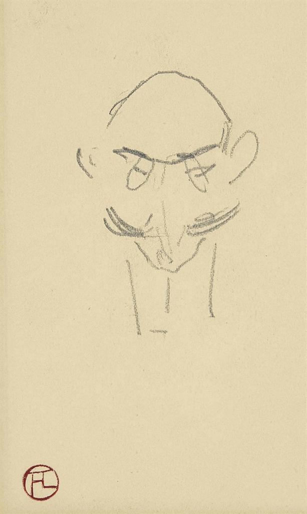 Henri de Toulouse-Lautrec-Maison de sante: Tete d'homme de face (recto); Tete de femme (verso)-1899